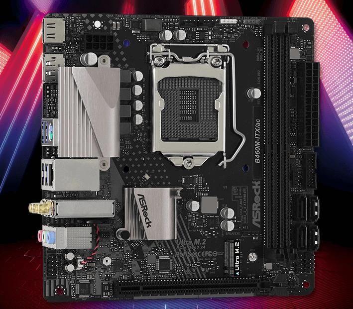 英特尔十代 CPU ITX 主板推荐:华擎(ASRock)B460M-ITX/ac主板 支持CPU 10400/10500/10400F/10700( Intel B460/LGA 1200)